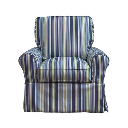 Horizon Slipcovered Box Cushion Swivel Rocking Chair - Beach Striped - 395245