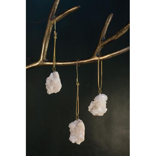 """Accent Decor - Stone Ornaments (Shape:Crystal Geode, Size:1.5"""" S/3, Color:White)"""