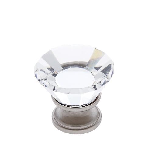 Satin Nickel 30 mm Flat Top Crystal Knob