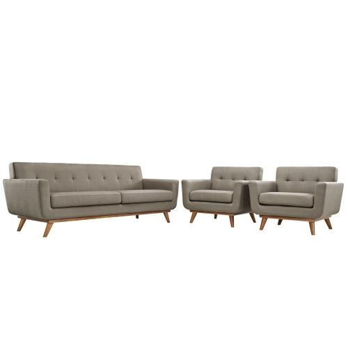 Engage Armchairs and Sofa Set of 3 in Granite