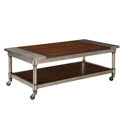 Hudson Aged Steel Cocktail Table, Cherry Brown