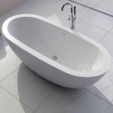 """See Details - Free-standing soaking bathtub made of white solid surface with an overflow andndrain, net weight 364 lbs, water capacity 73 Gal.W: 70 7/8"""" D: 31 1/2"""" H: 23 5/8"""""""