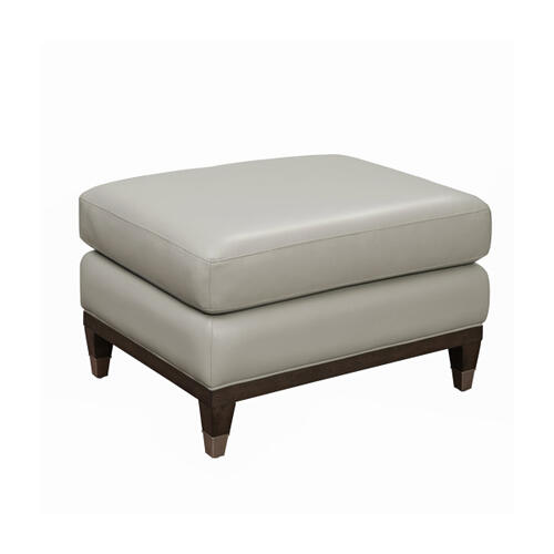 Addison Leather Accent Ottoman in Frost Gray
