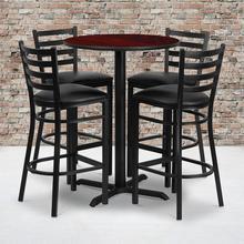 Product Image - 30'' Round Mahogany Laminate Table Set with X-Base and 4 Ladder Back Metal Barstools - Black Vinyl Seat