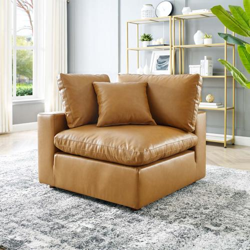 Modway - Commix Down Filled Overstuffed Vegan Leather Corner Chair in Tan