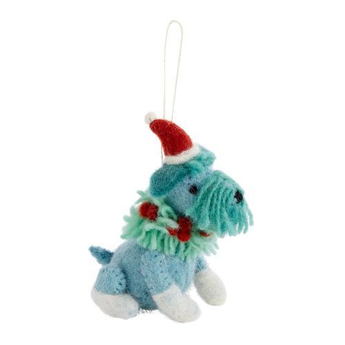 "3.75""x 2.5""x 4.5"" Blue Fido Ornament (Schnauzer Option)"