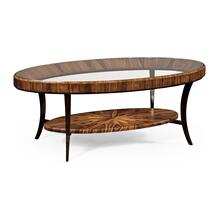 Art Deco Oval Glass Topped Satin Coffee Table