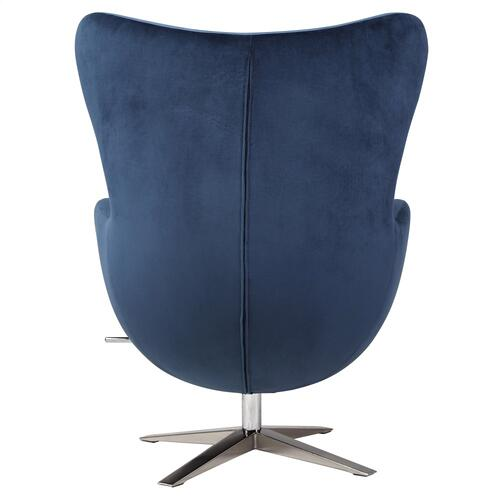 Max Fabric Swivel Rocker Chair Chrome Legs, Midnight Blue