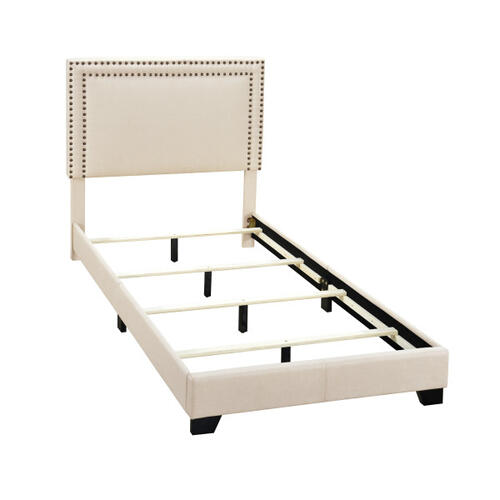 Cream Upholstered Twin Bed with Double Nail Head Trim