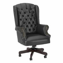 See Details - Wingback Leather Executive Office Chair with Nailhead Trim, Black Leather