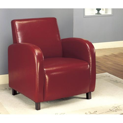 Gallery - ACCENT CHAIR - RED LEATHER-LOOK FABRIC