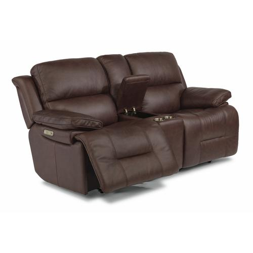 Flexsteel - Apollo Power Reclining Loveseat with Console and Power Headrests