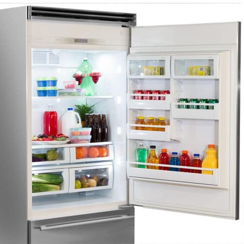 "Marvel Professional Built-In 36"" Bottom Freezer Refrigerator - Solid Stainless Steel Door - Right Hinge, Slim Designer Handle"