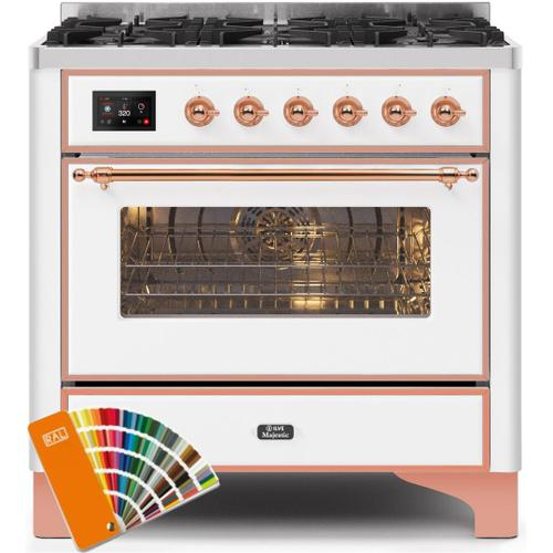 Product Image - Majestic II 36 Inch Dual Fuel Liquid Propane Freestanding Range in Custom RAL Color with Copper Trim