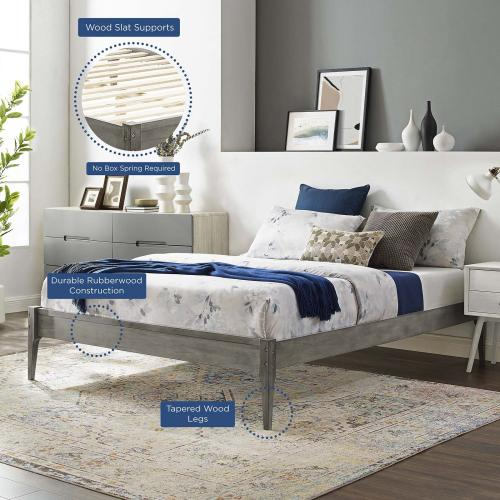 June Twin Wood Platform Bed Frame in Gray