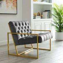 Bequest Gold Stainless Steel Performance Velvet Accent Chair in Gray