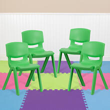 4 Pack Green Plastic Stackable School Chair with 15.5'' Seat Height [4-YU-YCX-005-GREEN-GG]