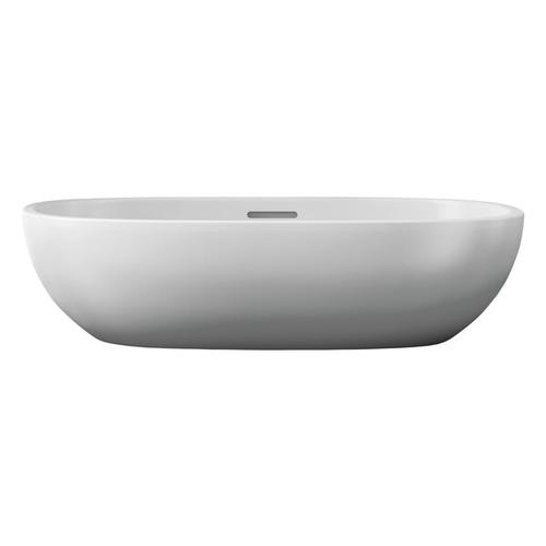 Barcelona 55 Oval 21-1/2 Inch Vessel Lavatory Sink in Volcanic Limestone™ with Internal Overflow - Gloss White