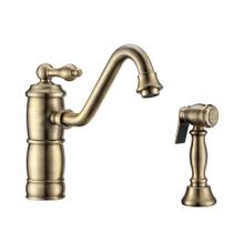 See Details - Vintage III Plus single lever faucet with traditional swivel spout and solid brass side spray - Antique Brass