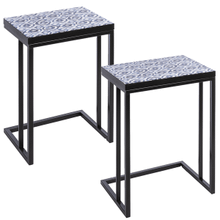 Blue & White Watercolor Geo Pattern Side Table (2 pc. set)