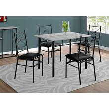 See Details - DINING SET - 5PCS SET / GREY / BLACK METAL