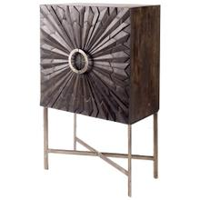 Apollo 50H Dark Brown Wood Brass Frame w Sunburst Pattern Storage Cabinet