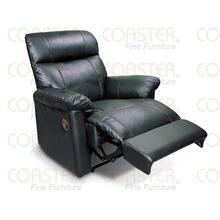 RECLINER, BLACK, LEATHER TOP GRAIN/PVC