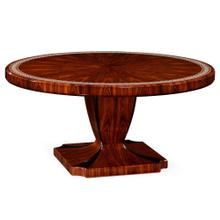 "51"" Santos rosewood dining table with pedestal leg with bone inlay - high sheen"