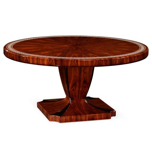 Santos rosewood dining table with pedestal leg with bone inlay - high sheen