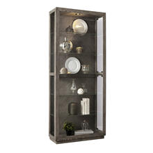 Wood Grain Lighted Curio with Six Shelves