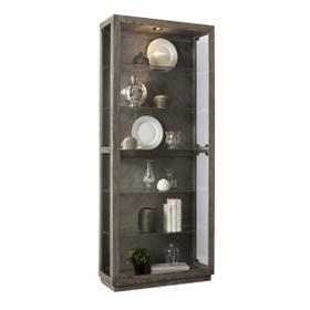 Wood Grain Lighted Curio with Six Shelves