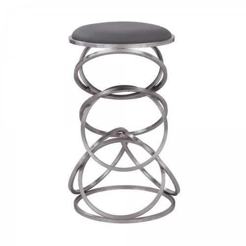 "Medley Contemporary 26"" Counter Height Barstool in Brushed Stainless Steel Finish and Grey Faux Leather"