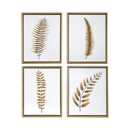 Forest Ferns Hand Painted Canvases, S/4