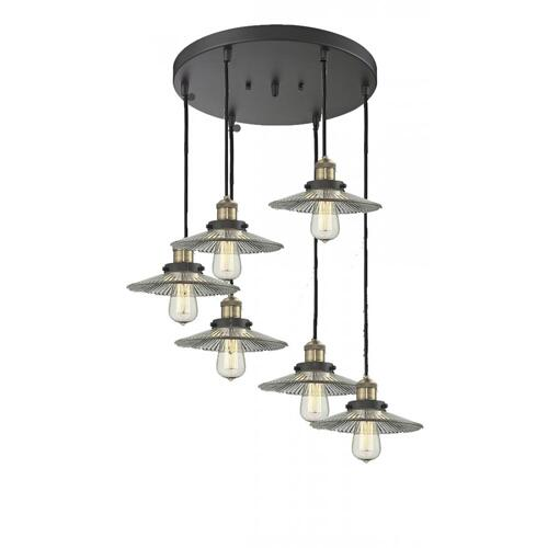 212/6-AC-G41 - LARGE GLASS CONE 6 LIGHT PAN CHANDELIER