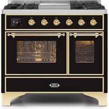 Majestic II 40 Inch Dual Fuel Natural Gas Freestanding Range in Glossy Black with Brass Trim