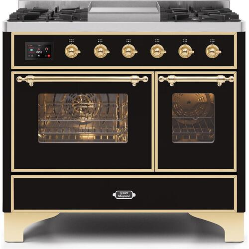 Ilve - Majestic II 40 Inch Dual Fuel Natural Gas Freestanding Range in Glossy Black with Brass Trim