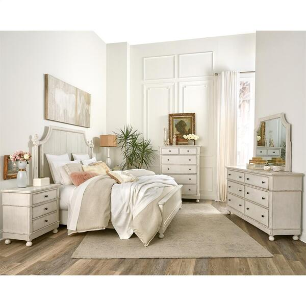 Bella Grigio - Six Drawer Dresser - Chipped White Finish