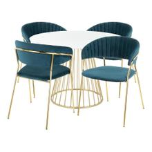 Canary-tania Dining Set - Gold Metal, White Wood, Teal Velvet
