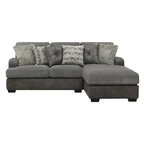 2pc Lsf Loveseat-rsf Chasie W/6 Pilllows Gray#tweed Pewter
