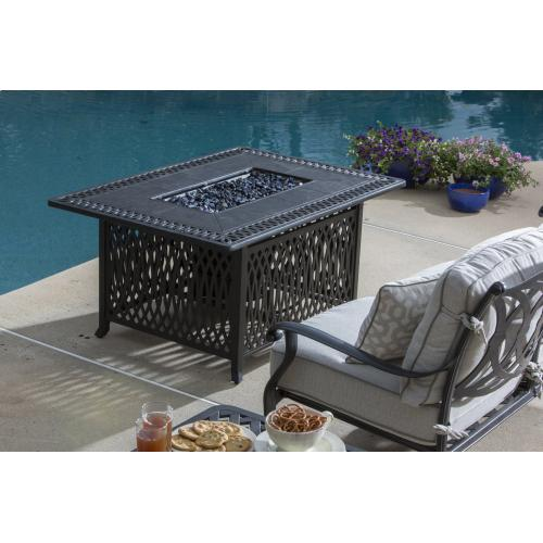 """Pescara 50"""" Rect Gas FirePit Chat Table w/ burner"""