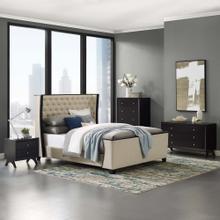 Galia Queen Upholstered Linen Fabric Platform Bed in Beige