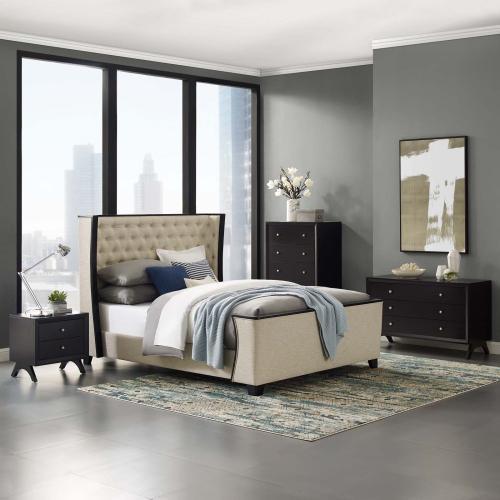 Modway - Galia Queen Upholstered Linen Fabric Platform Bed in Beige