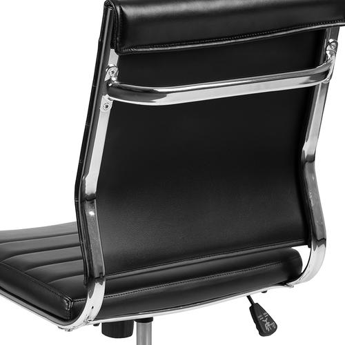 Gallery - Mid-Back Armless Black LeatherSoft Contemporary Ribbed Executive Swivel Office Chair