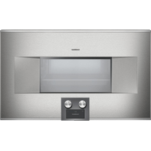 "400 series 400 series Combi-steam oven Stainless steel-backed full glass door Width 30"" (76 cm) Left-hinged Controls at the bottom"