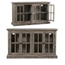 Hawthorne Estate 4 Door Windowpane Sideboard Rustic Driftwood Finish