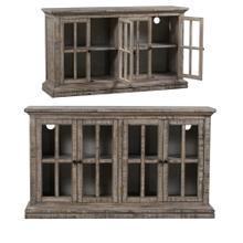 See Details - Hawthorne Estate 4 Door Windowpane Sideboard Rustic Driftwood Finish