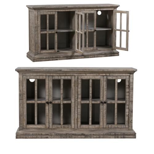 Crestview Collections - Hawthorne Estate 4 Door Windowpane Sideboard Rustic Driftwood Finish
