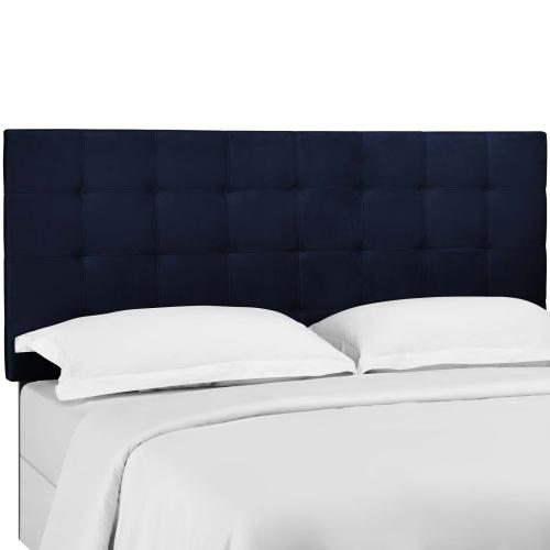 Paisley Tufted King and California King Upholstered Performance Velvet Headboard in Midnight Blue