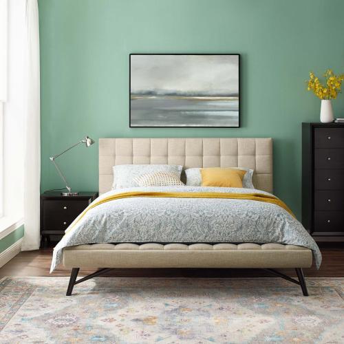 Julia Queen Biscuit Tufted Upholstered Fabric Platform Bed in Beige