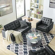 Loft Tufted Upholstered Faux Leather Loveseat and Armchair Set in Silver Black